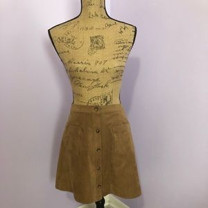 Abercrombie & Fitch Faux Suede Button Down Skirt